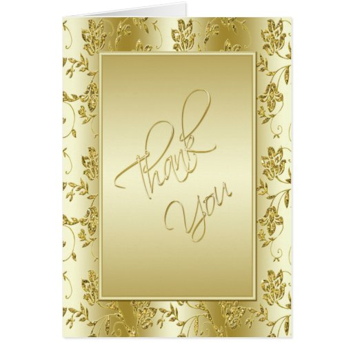 50th Anniversary Gold Glitter Thank You Card Card