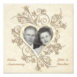 50th Anniversary Gold Heart Photo Invitation