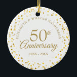"""50th Anniversary Gold Hearts Ceramic Ornament<br><div class=""""desc"""">Designed to coordinate with our 50th Anniversary Gold Hearts collection. Featuring delicate gold hearts. Personalise with your special fifty years golden anniversary information in chic gold lettering. Designed by Thisisnotme©</div>"""