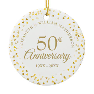 50th Anniversary Gold Hearts Ceramic Ornament