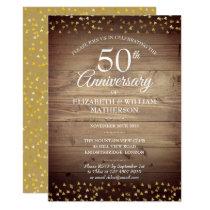 50th Anniversary Gold Hearts Rustic Wood Invitation