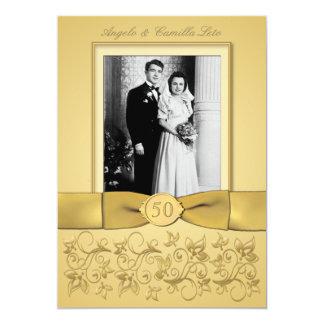 """50th Anniversary Gold Invite- DON'T USE GOLD PAPER 5"""" X 7"""" Invitation Card"""