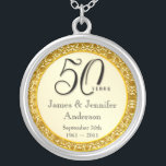 """50th Anniversary Gold Lace Keepsake Pendant<br><div class=""""desc"""">50th Anniversary Keepsake Pendant Necklace -- Elegant Golden 50th Wedding Anniversary Pendant with formal script and antique gold lace design -- Customize the names and date for your happy celebration. Perfect gift for your wife, mother, grandmother to commemorate 50 Golden Years together. Matching cards, invitations, postage and gifts available. Other...</div>"""
