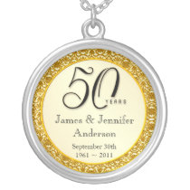50th Anniversary Gold Lace Keepsake Pendant
