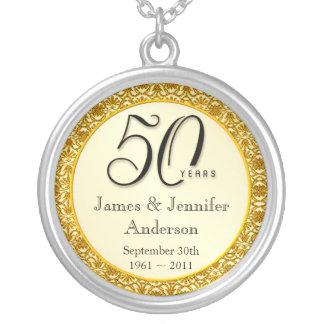 50th Anniversary Gold Lace Keepsake Pendant