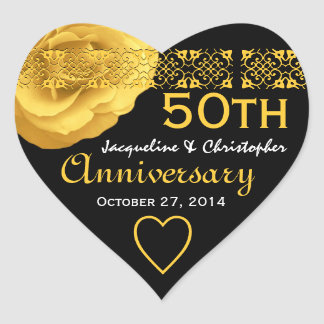 50th Anniversary GOLD Rose Heart Sticker 001