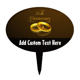 50th Anniversary   Gold Script Cake Toppers
