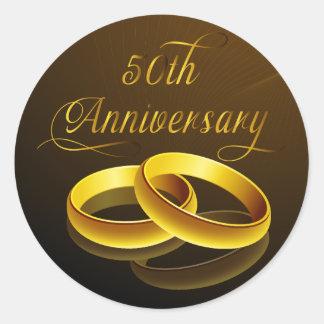50th Anniversary   Gold Script Classic Round Sticker