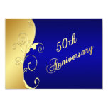 50th Anniversary Gold Scrolls with Navy Personalized Invitations