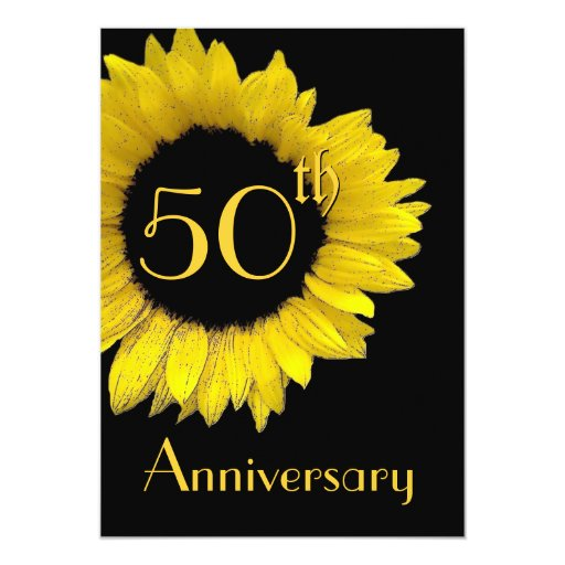50th Anniversary Gold Sunflower 5x7 Paper Invitation Card