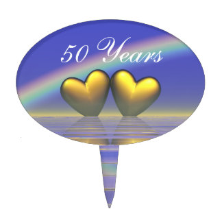 50th Anniversary Golden Hearts Cake Topper