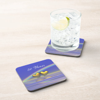 50th Anniversary Golden Hearts Drink Coasters