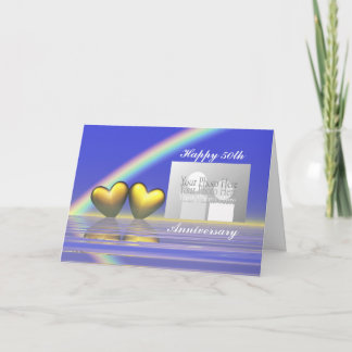50th Anniversary Golden Hearts (for photo) Card