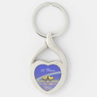 50th Anniversary Golden Hearts Keychain