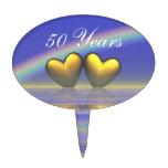 50th Anniversary Golden Hearts Oval Cake Picks