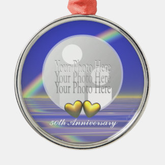 50th Anniversary Golden Hearts (photo frame) Metal Ornament