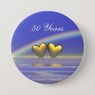 50th Anniversary Golden Hearts Pinback Button