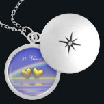 "50th Anniversary Golden Hearts Silver Plated Necklace<br><div class=""desc"">A pretty 3d image of golden hearts floating on the water under a rainbow with customizable text.</div>"