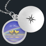 """50th Anniversary Golden Hearts Silver Plated Necklace<br><div class=""""desc"""">A pretty 3d image of golden hearts floating on the water under a rainbow with customizable text.</div>"""