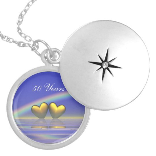 50th Anniversary Golden Hearts Silver Plated Necklace