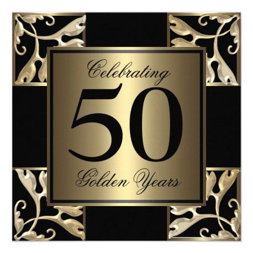 50th anniversary golden personalized invitation