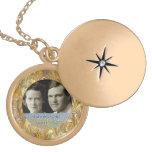 50th Anniversary Golden Photo Frame Keepsake Round Locket Necklace