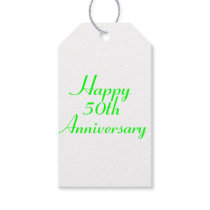 50th Anniversary Green Text Gift Tags Template