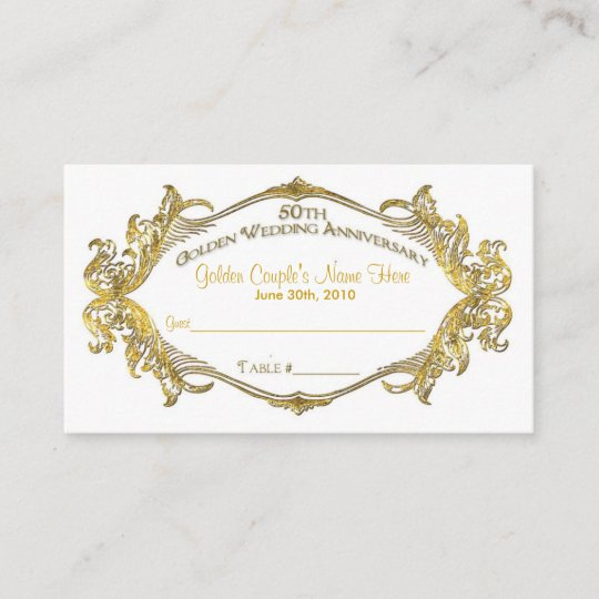 50th Anniversary Guest Table Card Golden Coupl Place