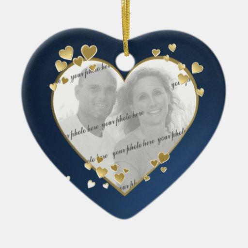50th Anniversary Heart Photo Keepsake Ceramic Ornament