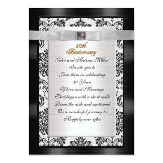 50th Anniversary invitation black white damask