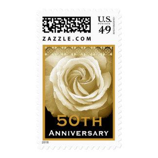 50th Anniversary Invitation CREAM Rose GOLD Accent Postage