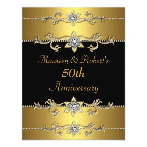 "50th Anniversary Invitation Elegant Black Gold 3 4.25"" X 5.5"" Invitation Card"