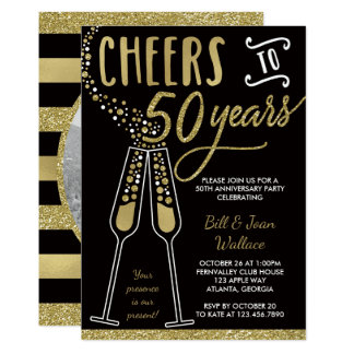 50th Anniversary Invitation, Faux Glitter/Foil Card