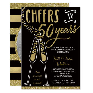 50th Anniversary Invitation, Faux Glitter/Foil Invitation