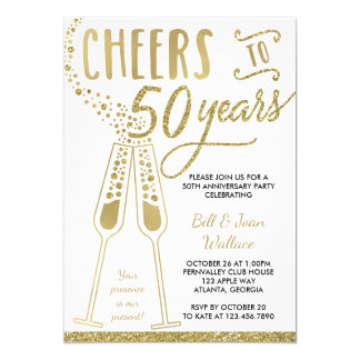 50th Anniversary Invitation, Faux Glitter, Photo Invitation