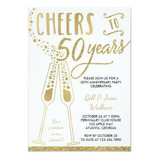 50th Anniversary Invitation, Faux Glitter, Photo Invitation