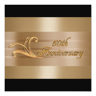 50th anniversary invitation gold black