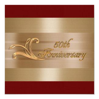 """50th anniversary invitation gold red 5.25"""" square invitation card"""
