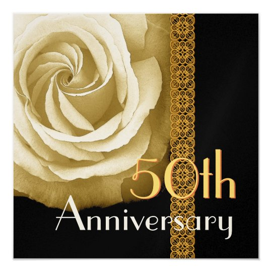 50th Anniversary Invitation - GOLD Rose