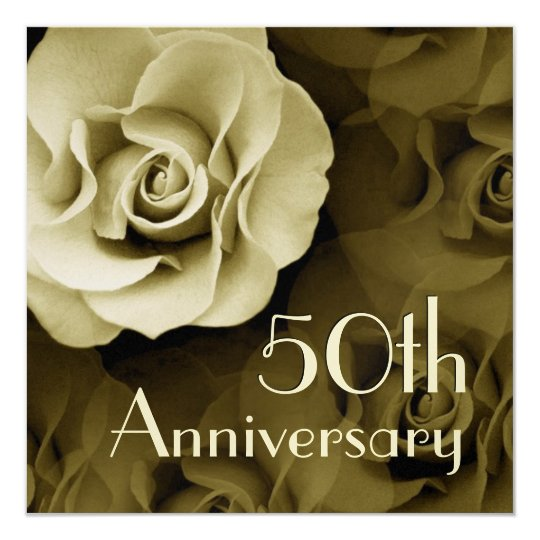 50th Anniversary Invitation - GOLD Rose