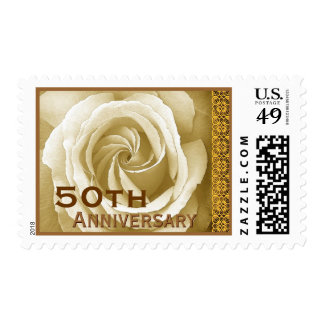50th Anniversary Invitation Rose Stamp Ivory Gold