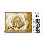50th Anniversary Invitation Rose Stamp Ivory Gold