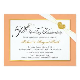 """50th Anniversary Invitations - Coral & Gold 4.5"""" X 6.25"""" Invitation Card"""