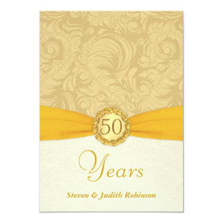 50th Anniversary Invitations- Gold Monogram 5x7 Paper Invitation Card