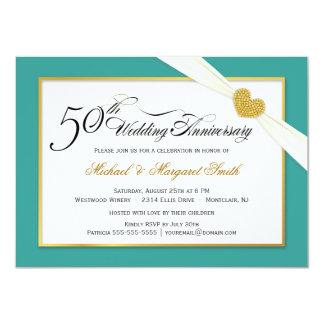 "50th Anniversary Invitations - Teal & Gold 4.5"" X 6.25"" Invitation Card"