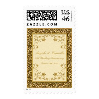 50th Anniversary Ivory and Gold Postage stamp