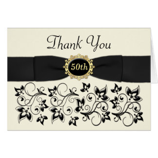 50th Anniversary Ivory Black Floral Thank You Card