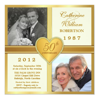50th Anniversary Ivory Gold Photo Invitations