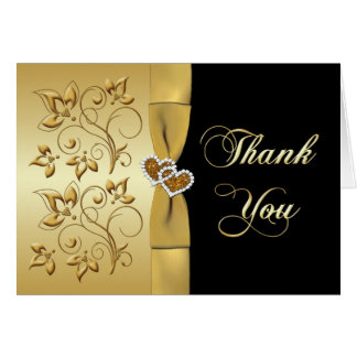 50th Anniversary Joined Hearts 2 Thank You Card