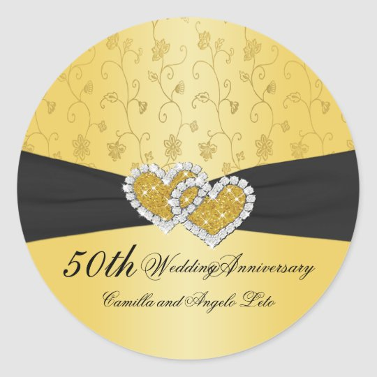 50th Anniversary Joined Hearts II Round Sticker